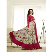 Craftsvilla Red Color Georgette Embroidered Circular Semi-stitched Anarkali Suit