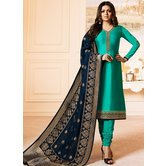 Craftsvilla Turquoise Color Resham Embroidery Semi-stitched Salwar Suit