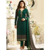 Craftsvilla Green Color Crepe Embroidered Semi-stitched Straight Suit