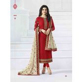 Craftsvilla Red Color Silk  Embroidered Semi-stitched Straight Suit
