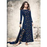 Craftsvilla Blue Color Georgette Embroidered Semi-stitched Straight Suit