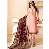 Craftsvilla Light Pink Color Resham Embroidery Semi-stitched Salwar Suit