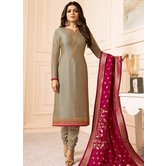 Craftsvilla Grey Color Resham Embroidery Semi-stitched Salwar Suit