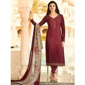 Craftsvilla Pink Color Crepe Resham Embroidery Semi-stitched Salwar Suit