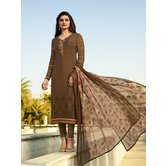 Craftsvilla Brown Color Crepe Resham Embroidery Semi-stitched Salwar Suit