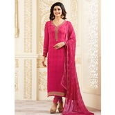 Craftsvilla Pink Color Georgette Resham Embroidery Semi-stitched Salwar Suit