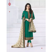 Craftsvilla Green Color Georgette Embroidered Semi-stitched Straight Churidar Suit