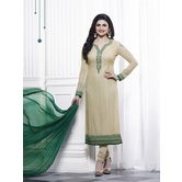Craftsvilla Beige Color Georgette Embroidered Semi-stitched Straight Suit