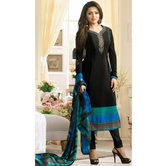 Craftsvilla Black Color Crepe Embroidered Semi-stitched Straight Suit