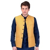 Craftsvilla Yellow Color Cotton Nehru Style Jacket