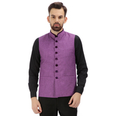 Craftsvilla Purple Color Cotton Nehru Style Jacket
