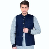 Craftsvilla Blue Color Cotton Nehru Style Jacket