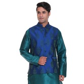 Craftsvilla Blue Color Brocade Nehru Style Jacket
