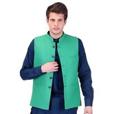 Craftsvilla Green Color Cotton Nehru Style Jacket