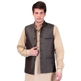 Craftsvilla Brown Color Cotton Nehru Style Jacket