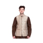 Craftsvilla Beige Color Brocade Nehru Style Jacket