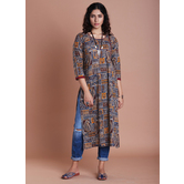 Anuswara Multicolor Traditional Printed Straight Kurti Featuring Side Buttons With Jaipuri Traditional Prints