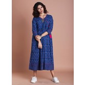 Indigo Angrkha Style Kurti Dress With Gathers
