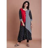 Anuswara Black And White Color Combination Layered Flared Anarkali Featuring Tassels And Brooch