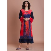 Red Rayon Panel Printed Gathers With Bell Sleeves Red And Jaipuri Traditional Prints