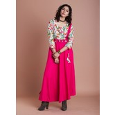 Pink Floral Print Combination With Plain Rayon Flared Kurti Dress Featuring Handmade Cloth Tassels