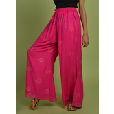 Craftsvilla Pink Rayon Printed Palazzo With Elasticated Waistband