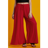 Craftsvilla Red Rayon Solid Flared Palazzo With Elasticated Waistband