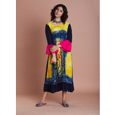 Yellow Rayon Panel Printed Gathers With Bell Sleeves Yellow And Jaipuri Traditional Prints