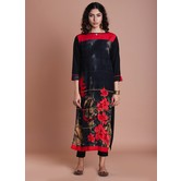 Red Rayon Floral Panel Print Straight Kurti Red And Jaipuri Traditional Prints