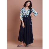 Blue Floral Print Combination With Plain Rayon Flared Kurti Dress Featuring Handmade Cloth Tassels