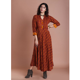 Mustard Rayon Printed Flared Kurti Dress With Tassels  Mustard And Jaipuri Traditional Prints