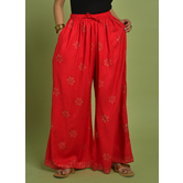 Craftsvilla Red Rayon Printed Palazzo With Elasticated Waistband