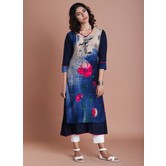 Blue Rayon Floral Panel Layered Kurti Blue And Jaipuri Traditional Prints