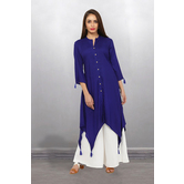 Anuswara Blue Color Rayon Plain Calf Length High Low Hem Kurti