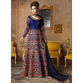 Craftsvilla Blue Color Embroidered Silk Circular Semi-stitched Anarkali Suit