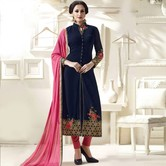 Craftsvilla Red Color Georgette Embroidered Traditional Semi-stitched Straight Salwar Suit