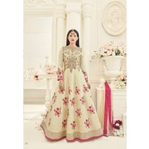 Craftsvilla Beige Color Embroidered Silk Circular Semi-stitched Anarkali Suit