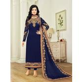 Craftsvilla Blue Color Georgette Embroidered Traditional Semi-stitched Straight Salwar Suit