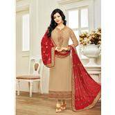 Craftsvilla Beige Color Georgette Embroidered Traditional Semi-stitched Straight Salwar Suit