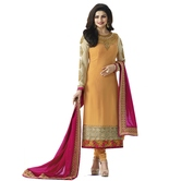 Craftsvilla Orange Color Georgette Embroidered Traditional Unstitched Straight Churidar Suit
