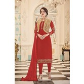 Craftsvilla Red Color Georgette Embroidered Semi-stitched Straight Churidar Suit