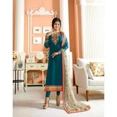 Craftsvilla Teal Green Color Georgette Embroidered Traditional Semi-stitched Straight Salwar Suit