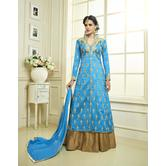 Craftsvilla Blue Color Bangalore Silk Embroidered Traditional Semi-stitched Straight Salwar Suit