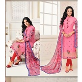 Craftsvilla Pink Color Silk Embroidered Full Sleeves Unstitched Straight Suit