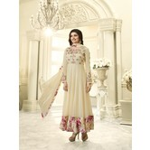 Craftsvilla Yellow Color Georgette Embroidered Circular Semi-stitched Anarkali Suit