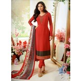 Craftsvilla Red Color Crepe Embroidered Traditional Unstitched Straight Churidar Suit