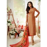 Craftsvilla Peach Color Crepe Embroidered Traditional Unstitched Straight Churidar Suit