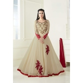 Craftsvilla Beige Color Georgette Embroidered Circular Semi-stitched Traditional Anarkali Suit