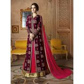 Craftsvilla Maroon Color Embroidered Silk Circular Semi-stitched Anarkali Suit