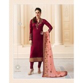Craftsvilla Pink Color Georgette Embroidered Semi-stitched Straight Churidar Suit